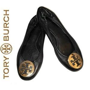 Tory Burch Reva ballet flats with gold emblem 7M